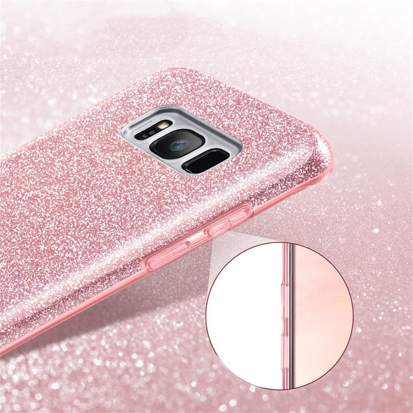 Handy-Glitzer-Huelle-fuer-Samsung-Galaxy-Slim-TPU-Cover-Case-Silikon-Schutz-Tasche Indexbild 16