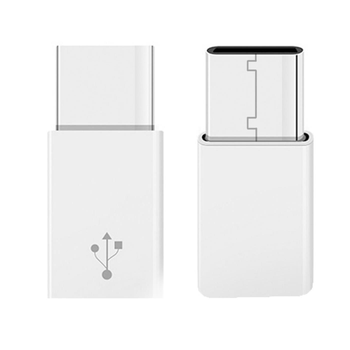2x USB Typ C Stecker auf Micro USB Buchse Lade Kabel Adapter Android WEISS 4