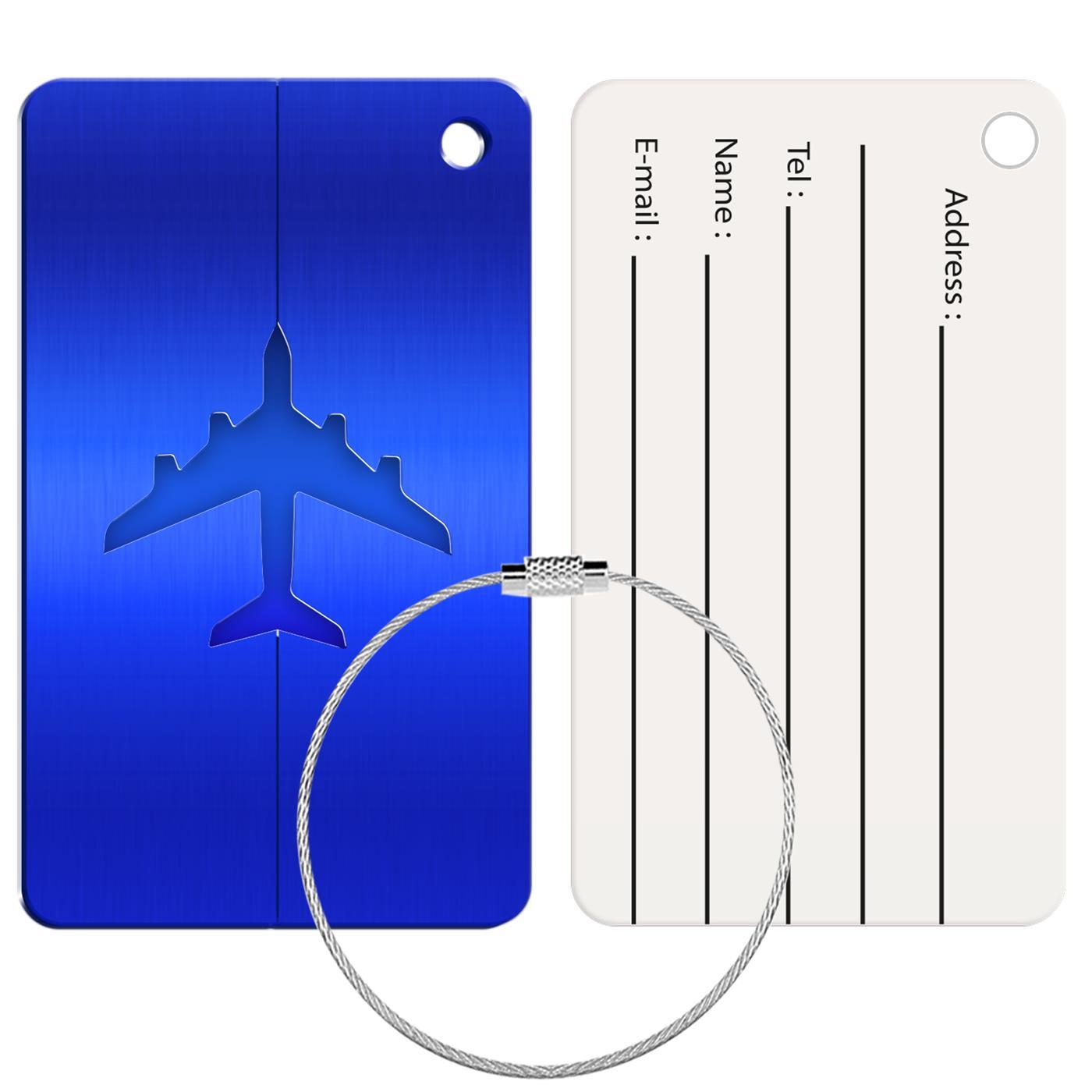 Reise Kofferanhänger Namensschild Gepäck Anhänger Schild Urlaub Flugzeug Trolley Blau
