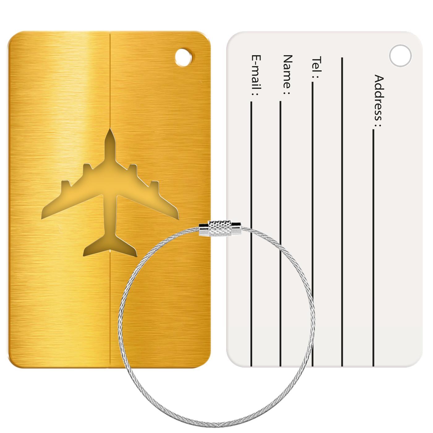 Reise Kofferanhänger Namensschild Gepäck Anhänger Schild Urlaub Flugzeug Trolley Gold