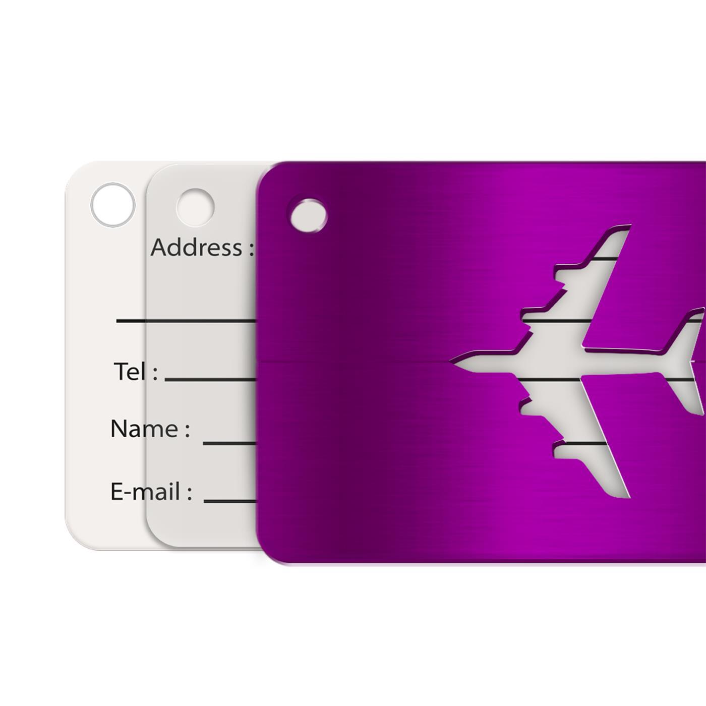 Reise-Kofferanhaenger-Namensschild-Gepaeck-Anhaenger-Schild-Urlaub-Flugzeug-Trolley Indexbild 26