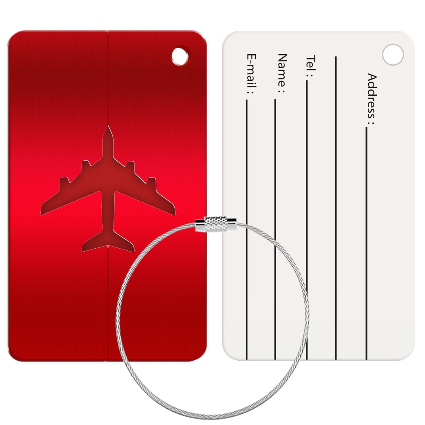 Reise Kofferanhänger Namensschild Gepäck Anhänger Schild Urlaub Flugzeug Trolley Rot