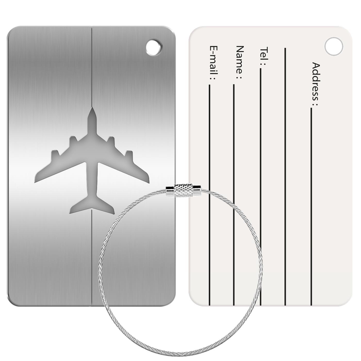 Reise Kofferanhänger Namensschild Gepäck Anhänger Schild Urlaub Flugzeug Trolley Silber