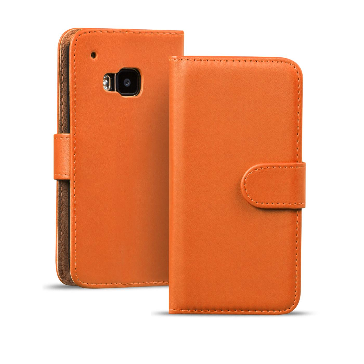 book case f r htc one m7 h lle klapph lle handy schutz tasche flip cover orange ebay. Black Bedroom Furniture Sets. Home Design Ideas