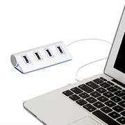 4 Port USB HUB 2.0 ALU Adapter Verteiler High Speed Kabel Stecker PC Mac