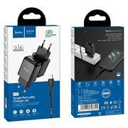 Hoco N2 USB Ladegerät + Micro USB Lade Kabel Single Netzteil mit 2.0A Reise Ladestecker