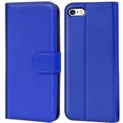 Basic Bookcase Hülle für Apple iPhone 5 / 5S / SE Klapphülle Tasche mit Kartenfächer in Blau