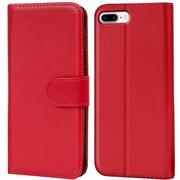 Basic Bookcase Hülle für Apple iPhone 8 Plus Klapphülle Tasche mit Kartenfächer in Rot