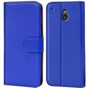 Basic Bookcase Hülle für HTC One Mini Klapphülle Tasche mit Kartenfächer in Blau