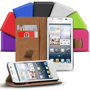 Basic Bookcase Hülle für Huawei Ascend G510 Klapphülle Tasche mit Kartenfächer