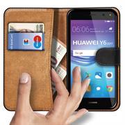 Basic Bookcase Hülle für Huawei Y6 2017 Klapphülle Tasche mit Kartenfächern