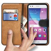 Basic Bookcase Hülle für Huawei Y6 Pro 2017 Tasche mit Kartenfächern