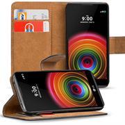 Basic Bookcase Hülle für LG X Power klappbare Tasche mit Kartenfächern