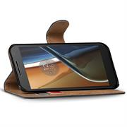 Basic Bookcase Hülle für Motorola G4 / G4 Plus Klapphülle Tasche mit Kartenfächer