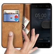 Basic Bookcase Hülle für Nokia 5.1 Klapphülle Tasche mit Kartenfächern