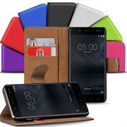 Basic Bookcase Hülle für Nokia 5 klappbare Tasche mit Kartenfächern