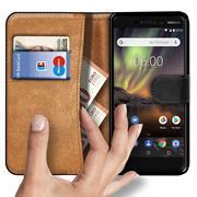 Basic Bookcase Hülle für Nokia 6 2018 Klapphülle Tasche mit Kartenfächern