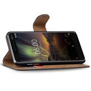 Basic Bookcase Hülle für Nokia 6 2018 Schutzhülle mit Kartenfächern