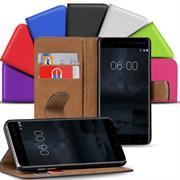 Basic Bookcase Hülle für Nokia 6 klappbare Tasche mit Kartenfächern