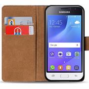Basic Bookcase Hülle für Samsung Galaxy J1 2016 klappbare Schutzhülle
