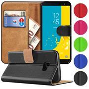 Basic Bookcase Hülle für Samsung Galaxy J4 Plus Klapphülle Tasche mit Kartenfächern