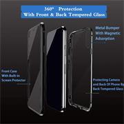 Metall Case für Huawei P40 Lite Hülle | Cover mit eingebautem Magnet Rückseite und Vorderseite aus Glas