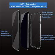 Metall Case für Huawei P40 Lite E Hülle | Cover mit eingebautem Magnet Rückseite und Vorderseite aus Glas