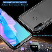 Metall Case für Huawei P40 Lite E Hülle   Cover mit eingebautem Magnet Rückseite und Vorderseite aus Glas