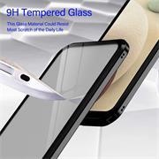 Metall Case für Samsung Galaxy A12 / M12 Hülle | Cover mit eingebautem Magnet Rückseite und Vorderseite aus Glas