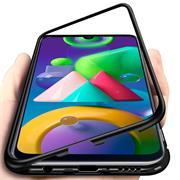 Metall Case für Samsung Galaxy M11 Hülle | Cover mit eingebautem Magnet Backcover aus Glas
