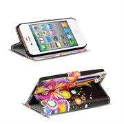 Motiv Klapphülle für Apple iPhone 4 / 4S buntes Wallet Schutzhülle
