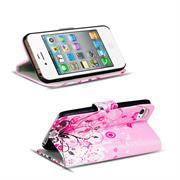Gemusterte Print Klapphülle für Apple iPhone 4 / 4S Tasche - Hülle im Floral pink Motiv Design