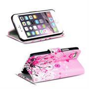 Gemusterte Print Klapphülle für Apple iPhone 7 Tasche - Hülle im Floral pink Motiv Design