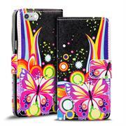 Gemusterte Print Klapphülle für Apple iPhone 7 Plus Tasche - Hülle im Regenbogen Schmetterling Motiv Design