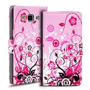 Gemusterte Print Klapphülle für Samsung Galaxy A5 Tasche - Hülle im Floral pink Motiv Design