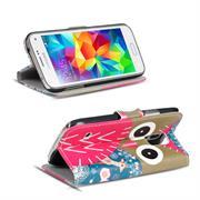 Gemusterte Print Klapphülle für Samsung Galaxy S2 / S2 Plus Tasche - Hülle im Owl und Reh Motiv Design
