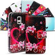 Gemusterte Print Wallet Hülle für Samsung Galaxy S2 / S2 Plus Tasche mit Motiv Design - Schutzhülle mit Kartenfächer