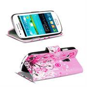 Gemusterte Print Klapphülle für Samsung Galaxy S3 Mini Tasche - Hülle im Floral pink Motiv Design