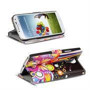 Gemusterte Print Klapphülle für Samsung Galaxy S4 Tasche - Hülle im Regenbogen Schmetterling Motiv Design
