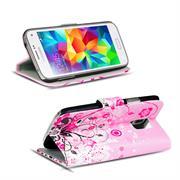 Gemusterte Print Klapphülle für Samsung Galaxy S5 / S5 Neo Tasche - Hülle im Floral pink Motiv Design