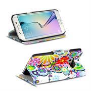 Gemusterte Print Klapphülle für Samsung Galaxy S6 Tasche - Hülle im Spirit der 60er Motiv Design
