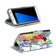 Gemusterte Print Klapphülle für iPhone Samsung Galaxy S7 Edge Tasche - Hülle im Spirit der 60er Motiv Design