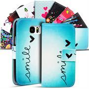 Gemusterte Print Wallet Hülle für Samsung Galaxy S7 Edge Tasche mit Motiv Design - Schutzhülle mit Kartenfächer
