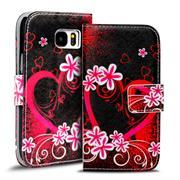 Gemusterte Print Klapphülle für Samsung Galaxy S7 Tasche - Hülle mit großem Herz Motiv Design