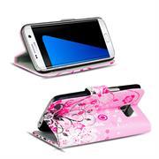 Gemusterte Print Klapphülle für Samsung Galaxy S7 Tasche - Hülle im Floral pink Motiv Design