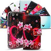 Gemusterte Print Wallet Hülle für Sony Xperia M5 Tasche mit Motiv Design - Schutzhülle mit Kartenfächer