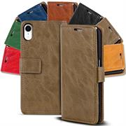 Retro Klapptasche für Apple iPhone XR Book Cover Hülle Tasche mit Kartenfächer