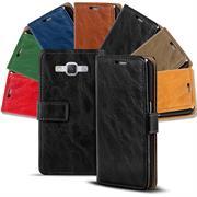Retro Klapptasche für Samsung Galaxy A3 Book Cover Hülle mit Kartenfächer