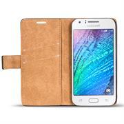 Retro Klapptasche für Samsung Galaxy J1 Book Cover Hülle mit Kartenfächer