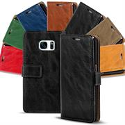 Retro Klapptasche für Samsung Galaxy S7 Edge Book Cover Hülle mit Kartenfächer